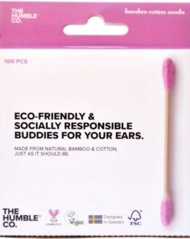 Bambusové vatové tyčinky do uší - ružové (100ks) image